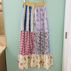 Vintage Robbie Rivers Patchwork Flare Maxi Skirt